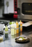 Mixed sauces in kitchen interior Royalty Free Stock Images