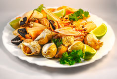 Mixed seafood. Delicacy healthy dinner seafood background Royalty Free Stock Image