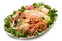 Mixed seafood grill Royalty Free Stock Photo