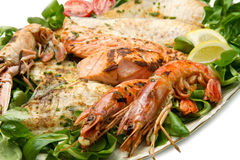 Mixed seafood grill Stock Photos