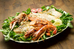 Mixed seafood grill Stock Photography