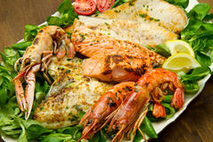 Mixed seafood grill Stock Images