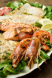 Mixed seafood grill Royalty Free Stock Images