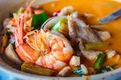 Mixed seafood hot and spicy soup, thai cuisine royalty free stock images