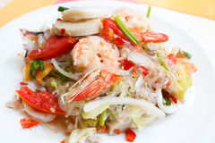 Mixed seafood and pork spicy Thai salad. Royalty Free Stock Images