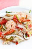 Mixed seafood and pork spicy Thai salad. stock images