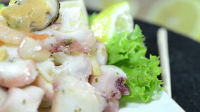 Mixed Seafood Salad (loopable) Royalty Free Stock Images