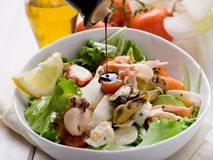 Mixed seafood salad with mozzarella Royalty Free Stock Photos