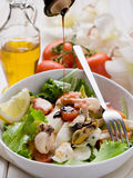 Mixed seafood salad with mozzarella Royalty Free Stock Photography