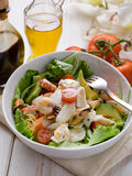 Mixed seafood salad with mozzarella Stock Photos