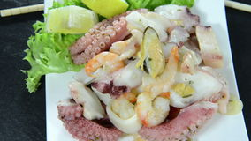 Mixed Seafood Salad (not loopable) Royalty Free Stock Photos