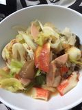 Mixed seafood salad Thai Style. The most famous dish in Thailand and A must try dish for travelers Royalty Free Stock Photography