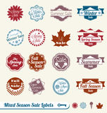 Mixed Season Sale Labels and Stickers. Collection of vintage style mixed season sale labels and stickers Stock Image