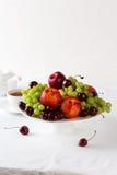 Mixed set of fresh raw ripe fruits Stock Images