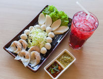 Mixed shrimp dumplings, fish ball Stock Images