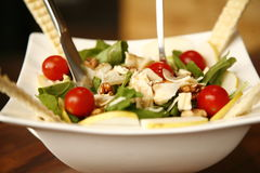 Mixed side salad. Delicious fresh side salad with green lettuce and cherry tomatoes Stock Photos