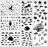 Mixed silhouettes set. Birds mammals fishes trees insects reptiles stock illustration