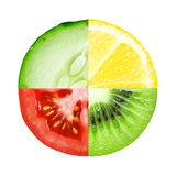 Mixed slice of fruit and vegetable Royalty Free Stock Images