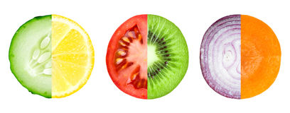 Mixed slice of fruit and vegetable Stock Photography
