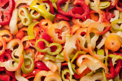 Mixed sliced pepper Stock Photos
