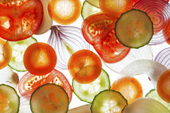 Mixed slices of fresh tomato, cucumber, onion, car Royalty Free Stock Photography