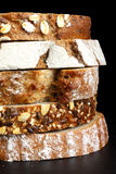 Mixed slices of health breads stacked. Royalty Free Stock Images