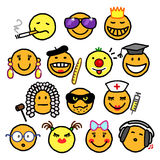 Mixed smileys stock image