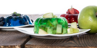 Mixed sorts of Jello on white Royalty Free Stock Photography