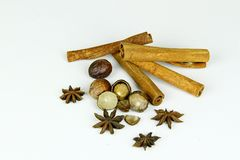 Mixed spice on isolated white background Stock Images