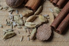 Mixed spices - cinnamon sticks and more! stock images