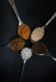 Mixed spices on dark background. Colorful spices in the spoons lying on a dark background stock images