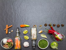 Mixed spices and herbs.Food and cuisine ingredients. Stock Images