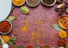 Mixed spices and herbs.Food and cuisine ingredients red backgro Royalty Free Stock Photography