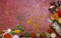 Mixed spices and herbs.Food and cuisine ingredients red backgro Stock Photo
