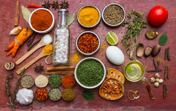Mixed spices and herbs.Food and cuisine ingredients red backgro Royalty Free Stock Image