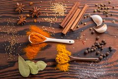 Mixed spices and herbs stock photos