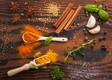Mixed spices and herbs stock photography