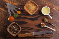 Mixed spices and herbs royalty free stock photography