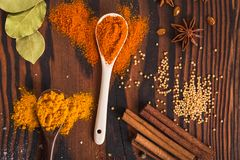 Mixed spices and herbs royalty free stock image