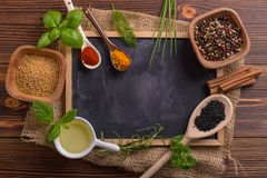 Mixed spices and herbs royalty free stock photos
