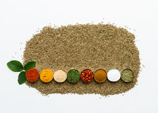 Mixed spices and herbs on white background. Stock Photo