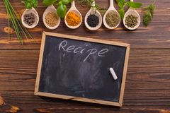 Mixed spices and herbs stock photo