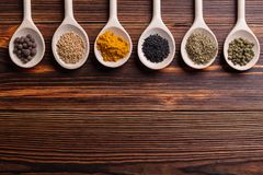 Mixed spices and herbs stock image