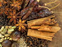 Mixed Spices on a Wood Background Royalty Free Stock Photo