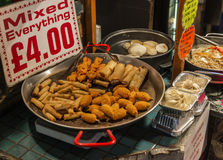 Mixed spring rolls and crab claws in Camden Town Stock Photos