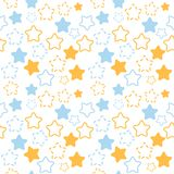 Mixed stars pattern in blue and orange colors Royalty Free Stock Photography
