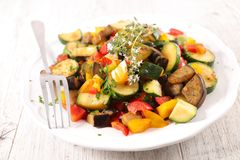 Mixed stew vegetable. Plate of ratatouille, mixed stew vegetable Royalty Free Stock Photography