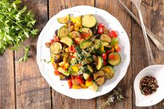 Mixed stew vegetable. Ratatouille, mixed stew vegetable on wood Stock Photos