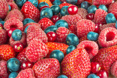 Mixed summer berries background Stock Photo