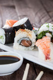 Mixed Sushi on a plate Stock Images
